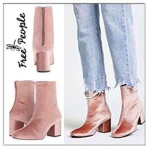 🆕Free People Cecile Rose velvet booties Sz 8.5/39